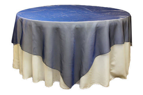 Charmant Organza Table Overlay   Navy Blue