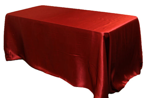 Satin Rectangular Table Linens - Burgundy