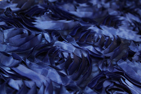 Satin Rosette Table Runner - Navy Blue