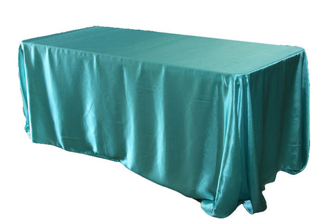 Satin Rectangular Table Linens - Light Turquoise