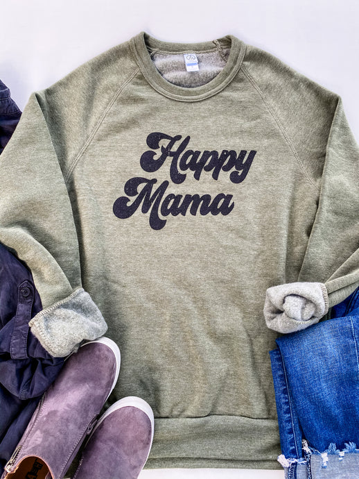 Happy Mama Sweatshirt in Army Green