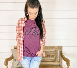 Darling You are Art- Mama Tee in Burgundy