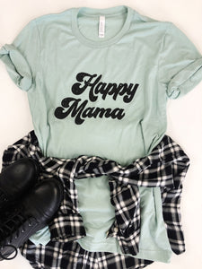 Happy Mama-Dusty Blue with black ink