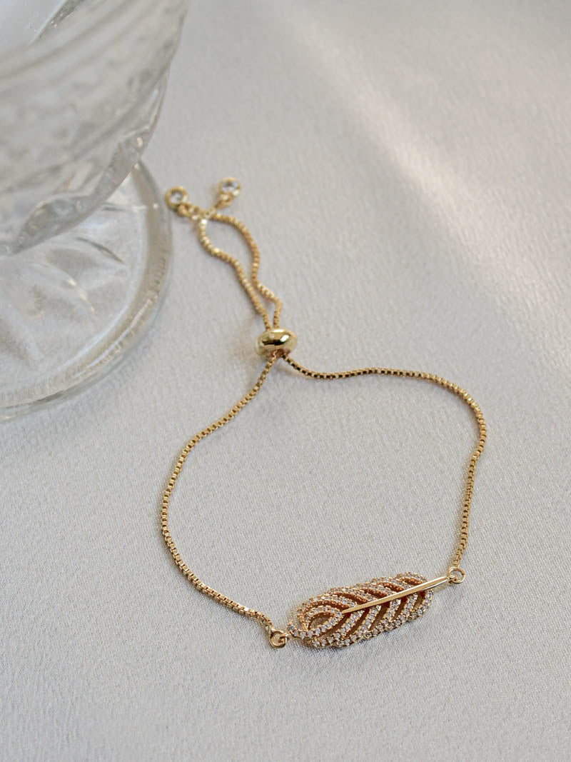 Jennifer Feather Bracelet in Gold | The Obcessory