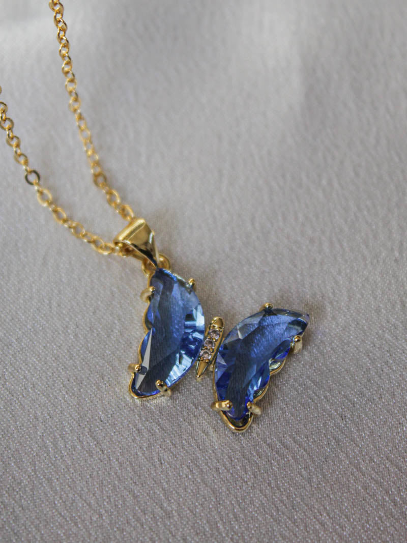 Sparkling Blue Butterfly Necklace | The Obcessory