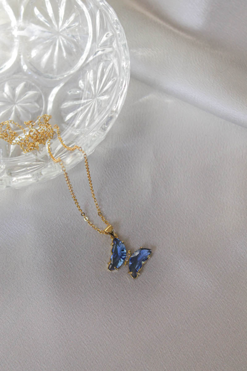 Joanna Necklace | Blue Butterfly | The Obcessory