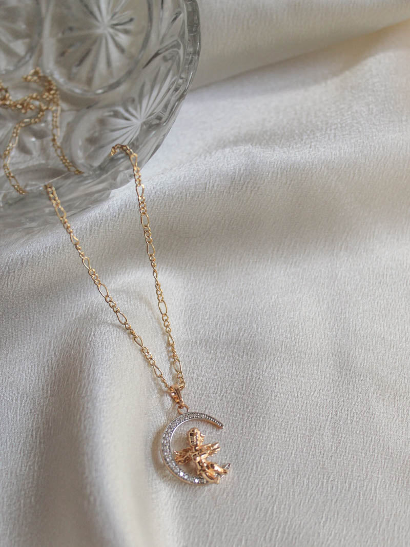Gold filled Angel Moon Necklace by The Obcessory