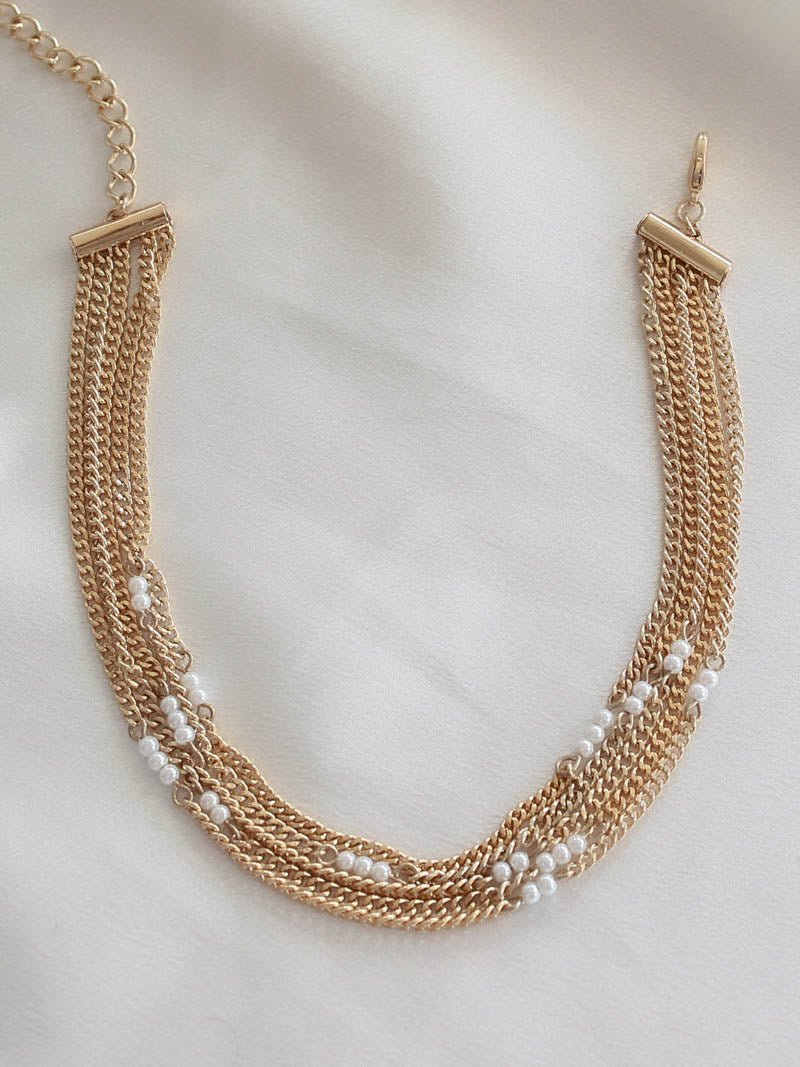 Gold Chain & Pearl Choker Necklace | Ettika