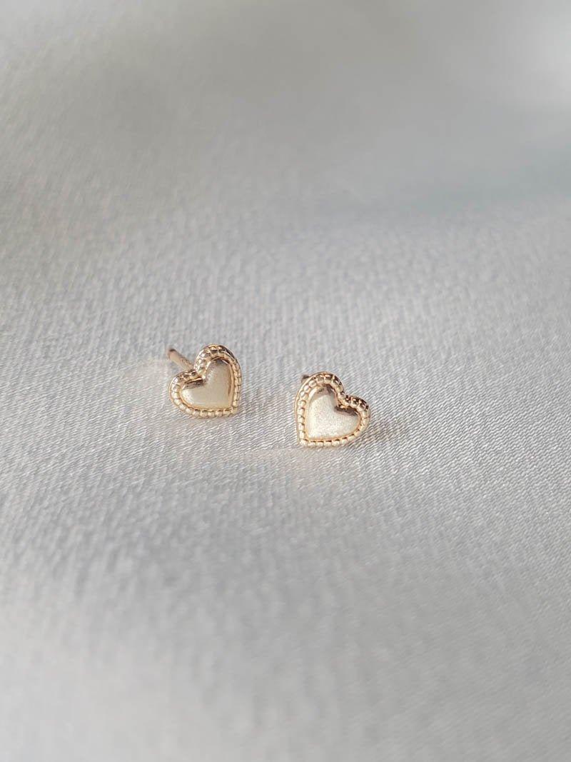 Petite Gold Filled Heart Studs by Girls Crew