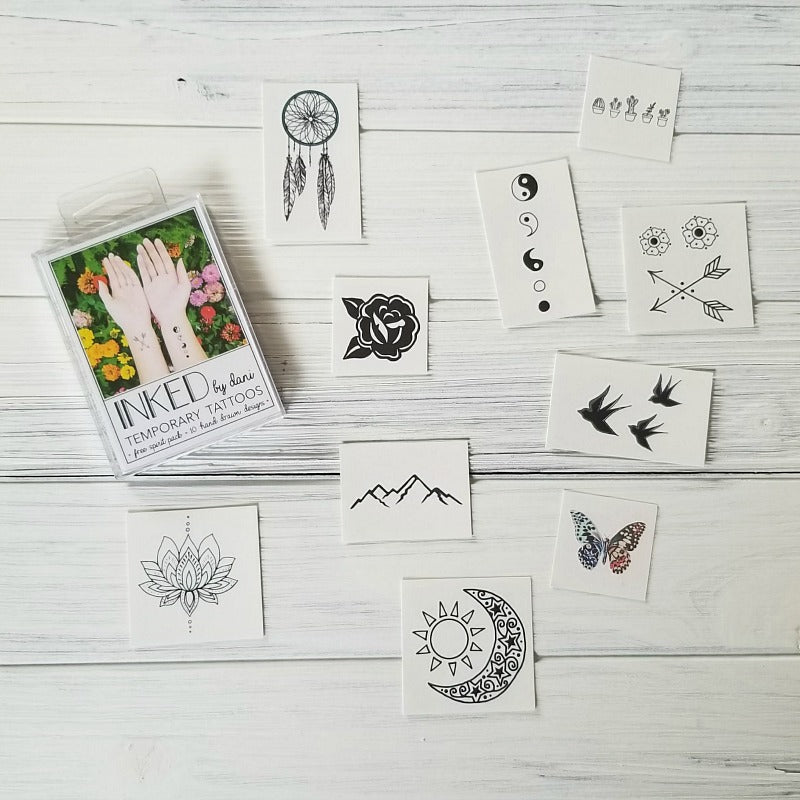 Inked By Dani Free Spirit Temporary Tattoo Pack