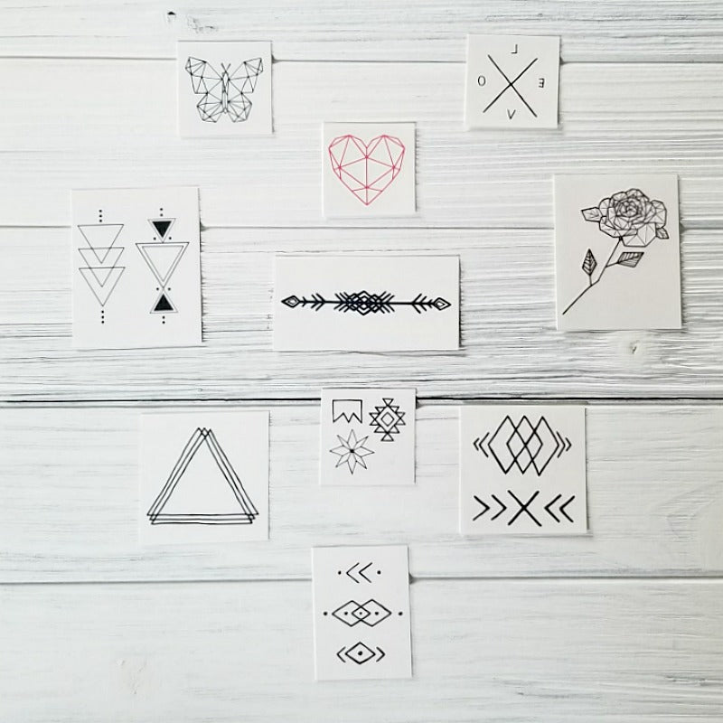 INKED BY DANI . GEOMETRIC TEMPORARY TATTOO PACK