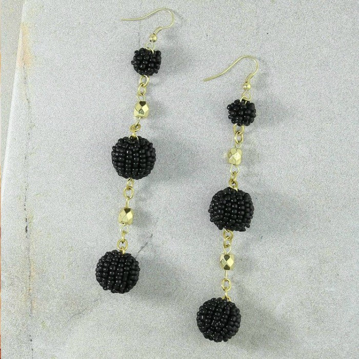 Black Beaded Tiered Earring