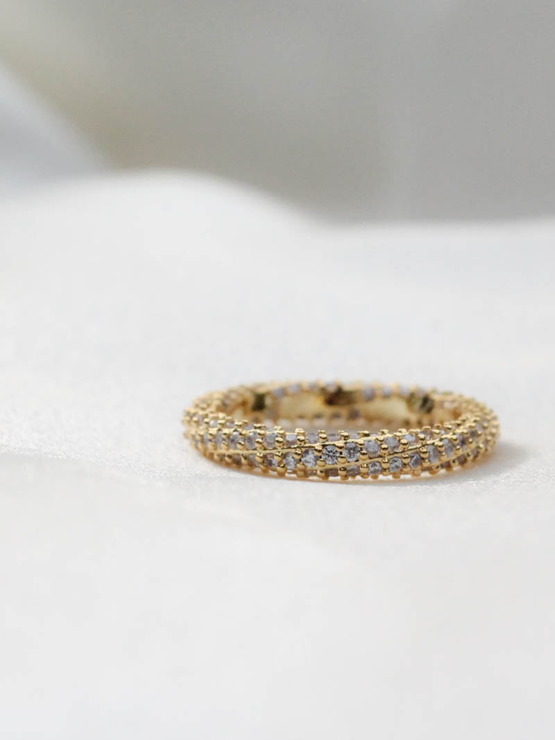 GOLD PAVE TWISTED RING - LUV AJ