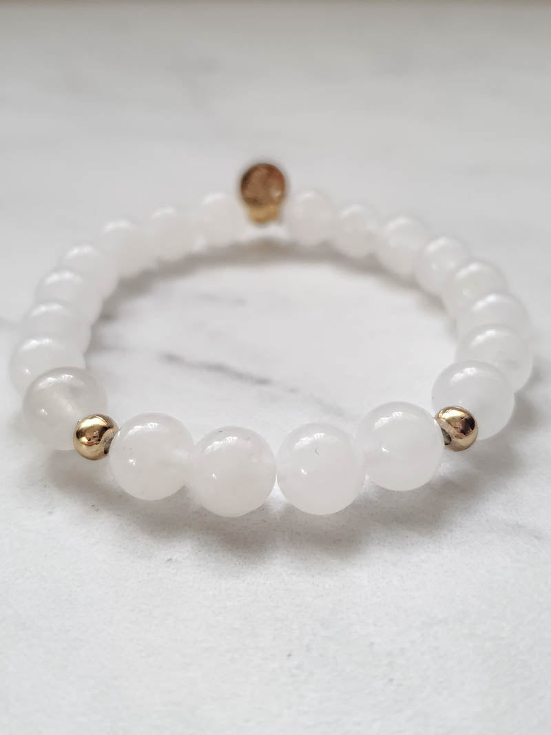 STUD MUFFIN BOSTON x THE OBCESSORY . WHITE JADE & GOLD BRACELET