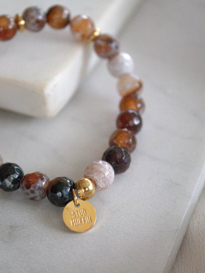Fire Agate Gemstone Bracelet by Stud Muffin Boston