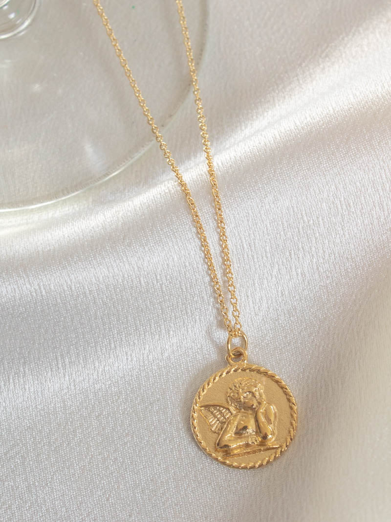 Gold Cherub Charm Necklace