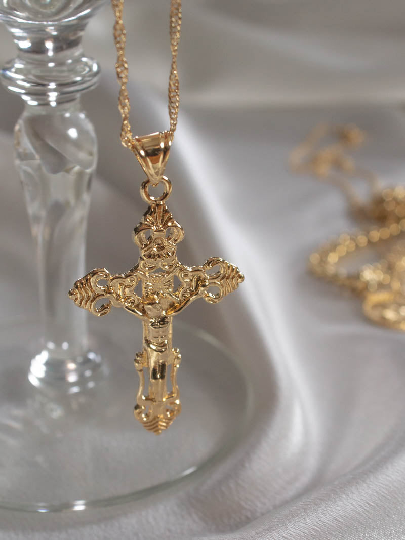 Gold Croix Cross Necklace by Vibe Szn