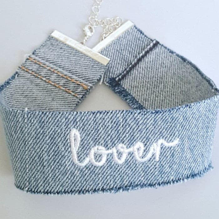 Yunis K Lover Denim Choker