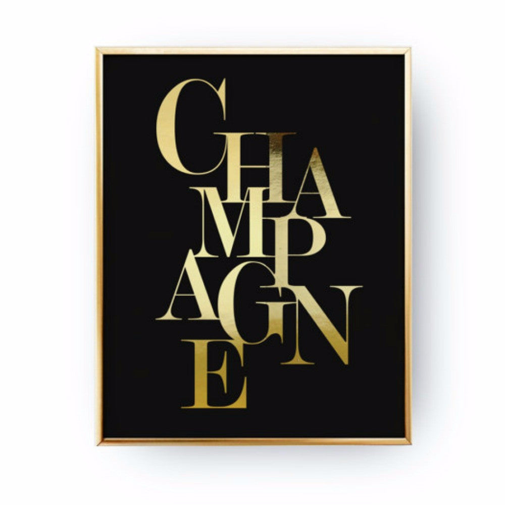 Champagne Wall Print for Gallery Wall