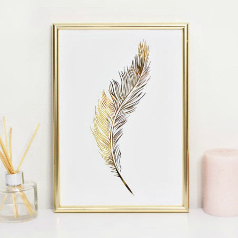 FEATHER GOLD FOIL WALL PRINT