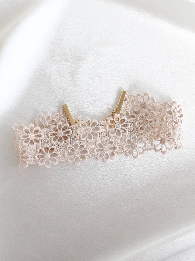 Tan Lace Choker by Fraiser Sterling