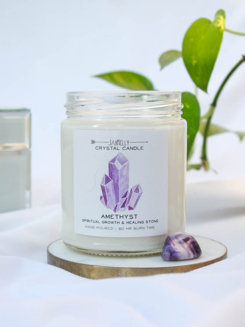 JAXKELLY . AMETHYST CRYSTAL CANDLE
