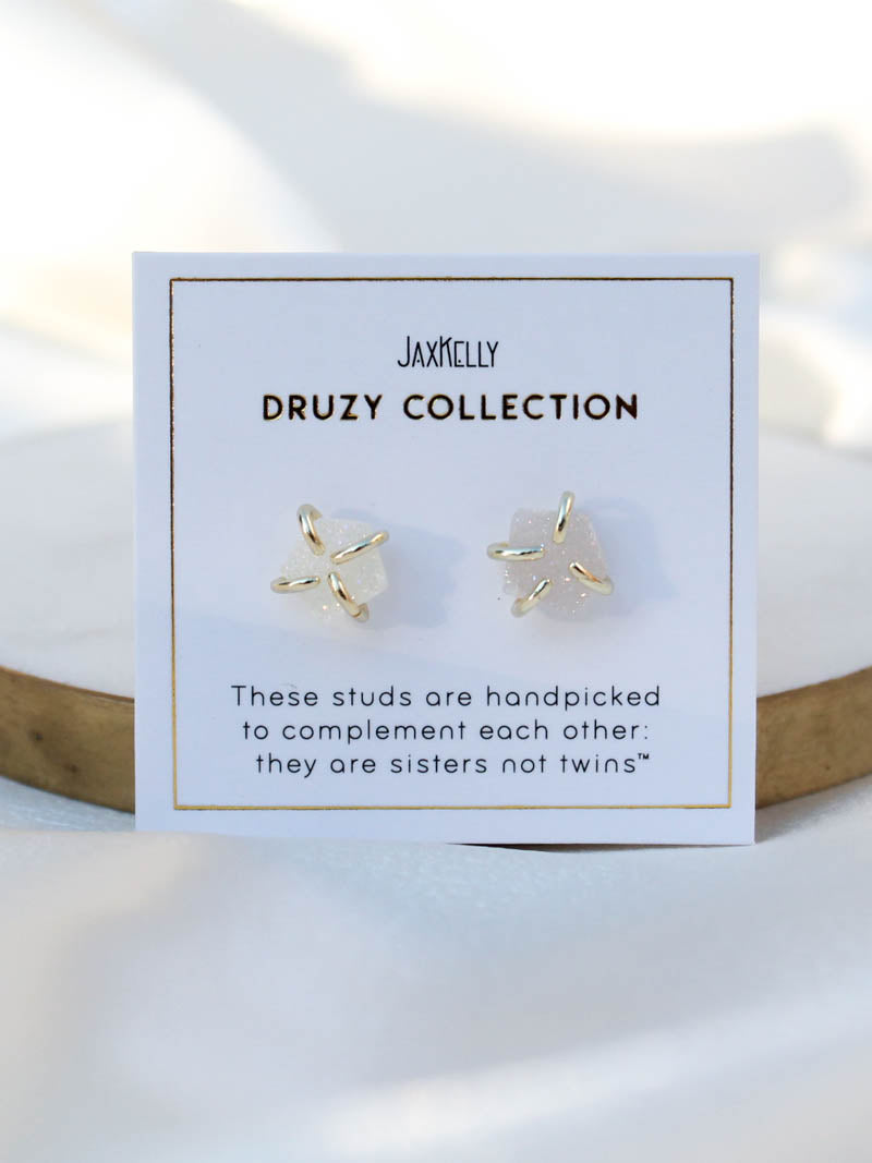 White Druzy Stud | JaxKelly