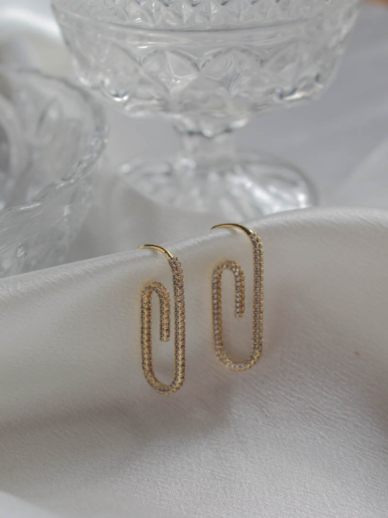 Luv AJ Pave Paper Clip Earring