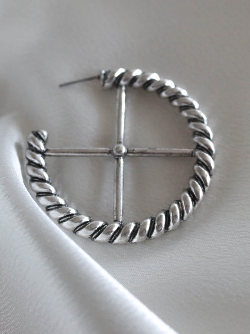 Silver Cross Hoop | Minc Collections
