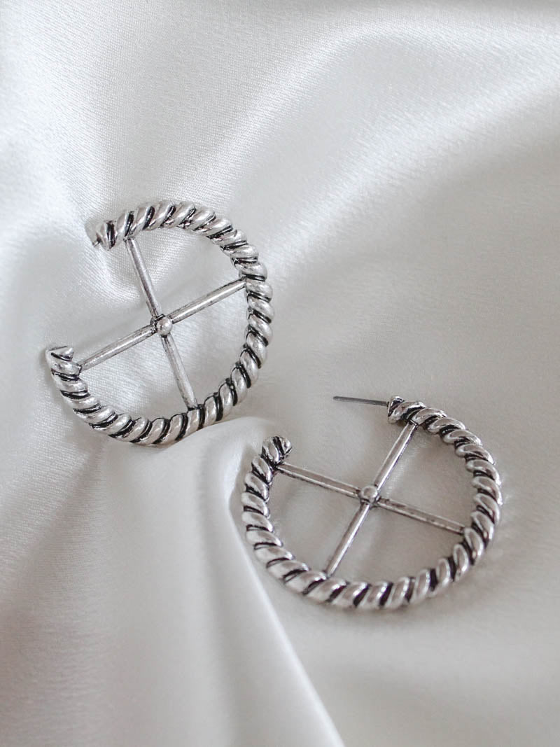 Minc Collections Silver Crossway Hoops