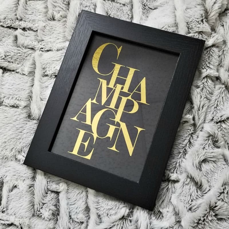 Black Framed Champagne Wall Print
