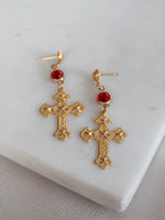 Gold Cross Earrings by Frasier Sterling