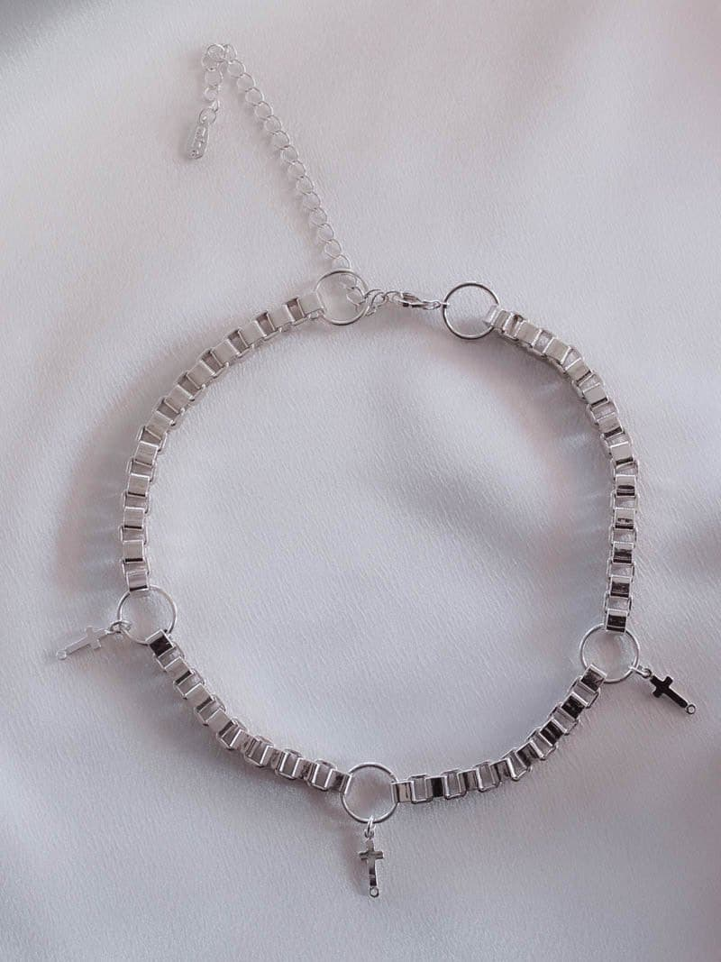 Silver Necklace with Cross Charm Details