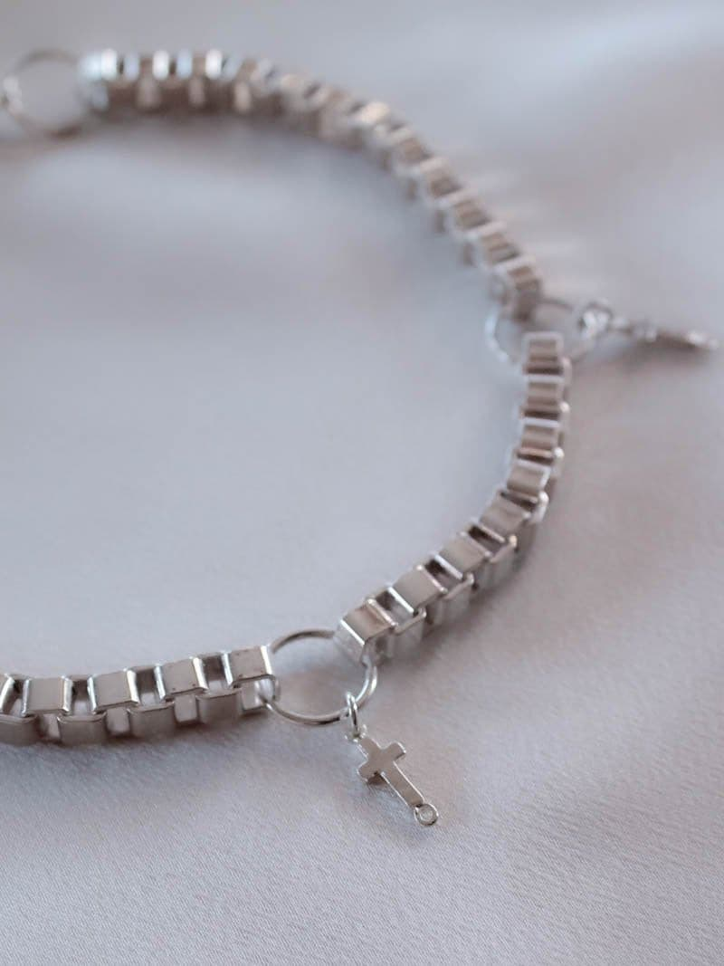Silver Cross Charm Choker Necklace by Minc Collections Australia