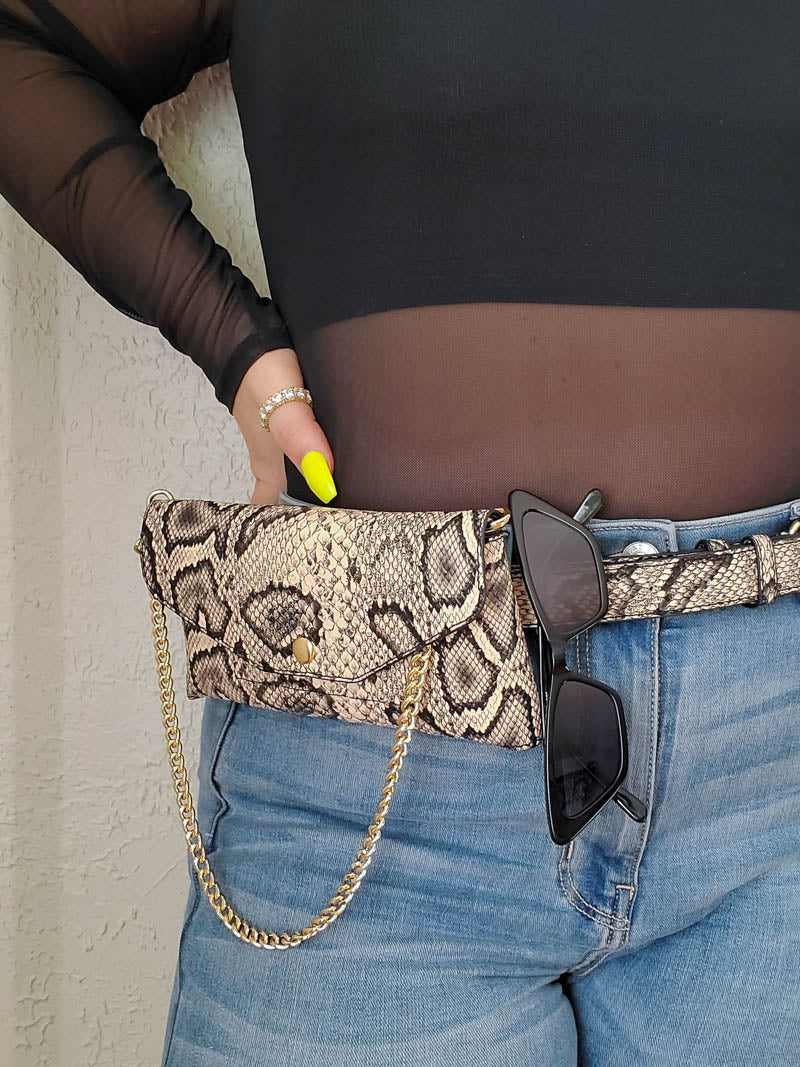 Snake print Belt Bag by The Casery