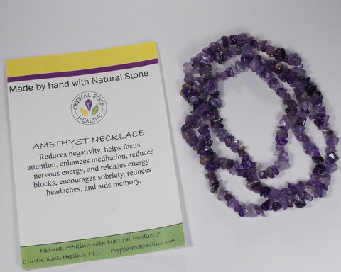 "Natural Stone Chip Necklace 34-35""-Amethyst"