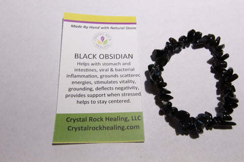 Natural Stone Chip Bracelet 7 inch stretch-Black Obsidian