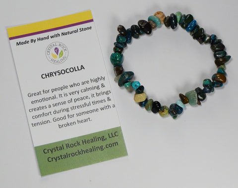 Natural Stone Chip Bracelet 7 inch Stretch-Chrysocolla