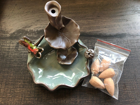 Ceramic Backflow Incense Burner - Dragonfly