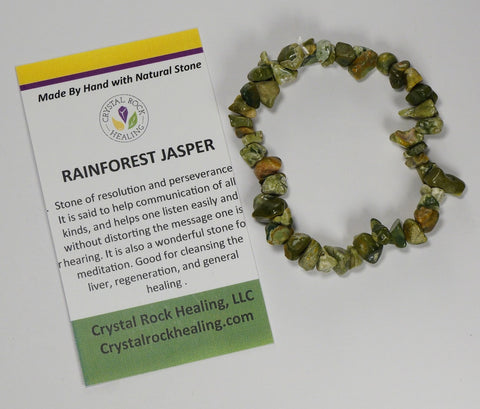 Natural Stone Chip Bracelet 7 inch Stretch-Rainforest Jasper