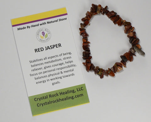 Natural Stone Chip Bracelet 7 inch Stretch-Red Jasper