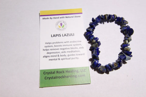 Natural Stone Chip Bracelet 7 inch stretch-Lapis