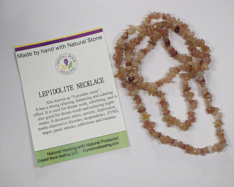 "Natural Stone Chip Necklace 34-35""-Lepidolite"