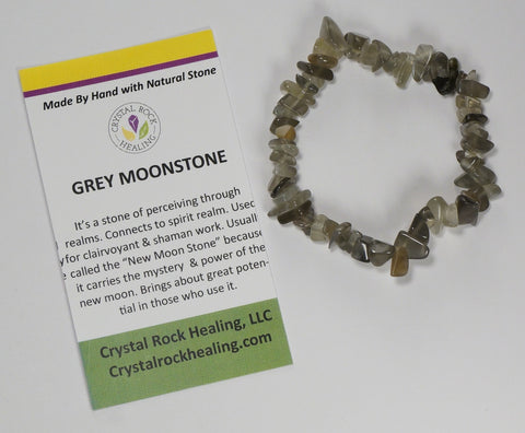 Natural Stone Chip Bracelet 7 inch Stretch-Grey Moonstone