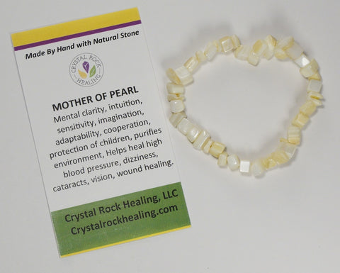 Natural Stone Chip Bracelet 7 inch Stretch-Mother Of Pearl