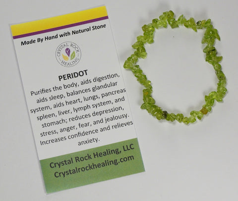 Natural Stone Chip Bracelet 7 inch Stretch-Peridot