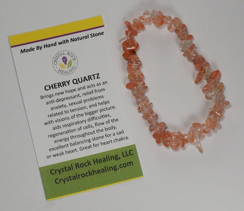 Natural Stone Chip Bracelet 7 inch Stretch-Cherry Quartz