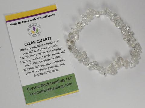 Natural Stone Chip Bracelet 7 inch Stretch-Clear Quartz