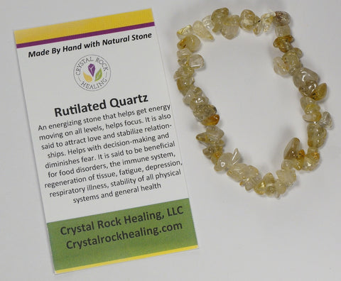 Natural Stone Chip Bracelet 7 inch Stretch-Rutilated Quartz