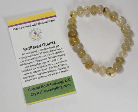 Natural Stone Gem Bracelet 7 inch Stretch-Rutilated Quartz